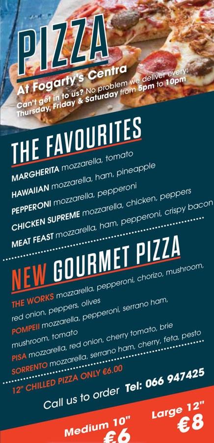 Centra Pizza menu
